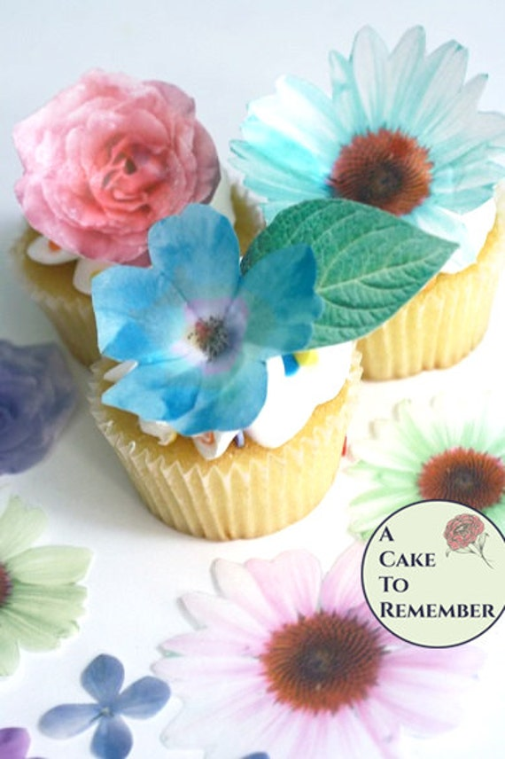 Edible flowers 24 wafer paper flowers and leaves for cake mightylinksfo
