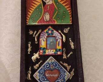 Nicho, Altar, Shrine, Our Lady of Guadalupe, Sacred Heart, Milagros, Saint, Religious