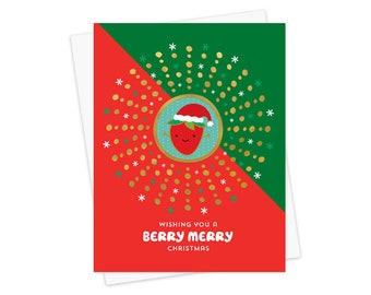 Berry Merry Gold Foil Christmas Cards, Box of 8 - Foil Stamped Holiday Cards - OC1192-BX