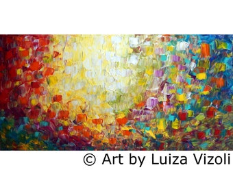 Abstract Lights 60x36 Oil Painting Large Canvas Minimalism Artwork by Luiza Vizoli