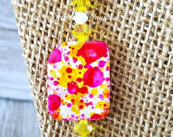 Hot pink, hot pink yellow necklace hot pink yellow bead necklace, hot pink yellow white, hot pink chunky necklace, beaded necklace, necklace
