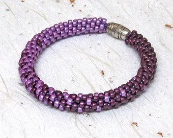 Kumihimo beaded bracelet Purple bracelet Blended bracelet