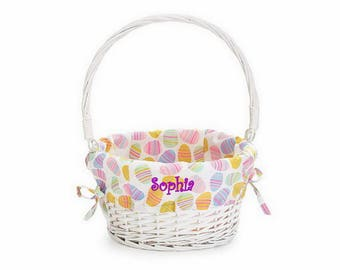 Baby easter basket etsy personalized easter egg basket with pastel liner negle Images