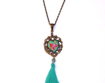 Turquoise Heart Tassel Necklace Romantic Painted Roses Boho Victorian Jewelry FREE SHIPPING