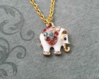 Elephant Necklace VERY SMALL Jeweled Elephant Jewelry Indian Elephant Charm White Elephant Gift Bridesmaid Necklace Rhinestone Necklace