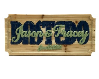Wedding Date, Carved Wood Sign, wall art, wall decor, wedding gift, personalized sign, anniversary gift, reclaimed wood, painted sign,custom