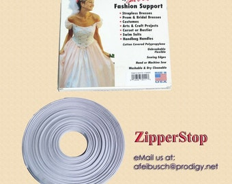 1/2 inch Covered Poly Boning - White - 12 yd roll / 100percent cotton covered polypropylene - Made USA