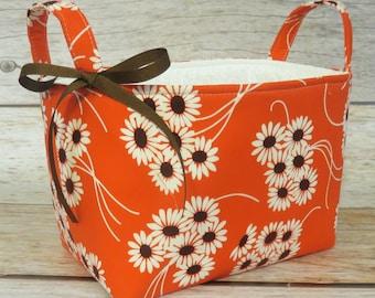 Storage Fabric Organizer Bin Container Basket - Daisy Bouquet - Katie Jump Rope Fabric - Nursery Baby Room Decor - Baby Shower Gift