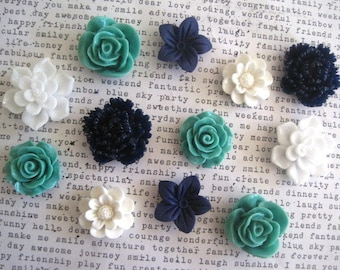 Magnet Set, 12 pc Flower Magnets, Teal, White and Navy Blue, Strong Magnets, Kitchen Decor, Housewarming Gift, Wedding Favor