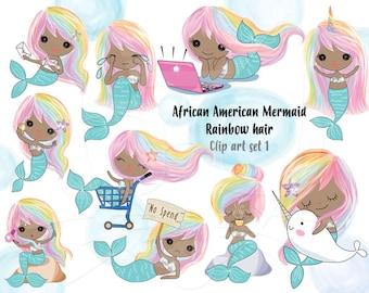 Rainbow hair African American Mermaid  Clip art set 1 , instant download PNG file - 300 dpi