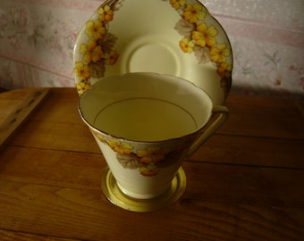 Vintage Yellow  Hand Painted Grafton China  Cup and Saucer Made in England Circa 1930s