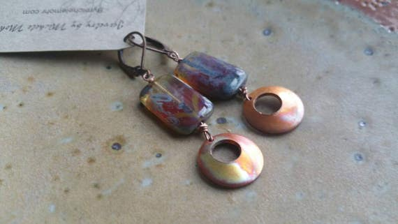 Flame painted copper and Czech glass lever back earrings