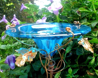 HOSTESS GARDEN GIFT, Butterfly Feeder, stained glass, Teal Blue, copper, garden stake, Garden Art, Bird Feeder