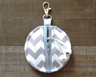 Gray and White Chevron Circle Zip Earbud Pouch / Coin Purse