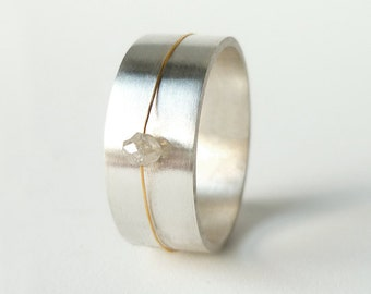 """Sterling Silver and Rough Diamond Ring, """"Float"""""""