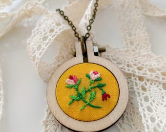 Hand Embroidered Necklace | Vintage Florals | Round - small pink flowers on yellow background - Handmade Embroidery Jewelry - Pendant