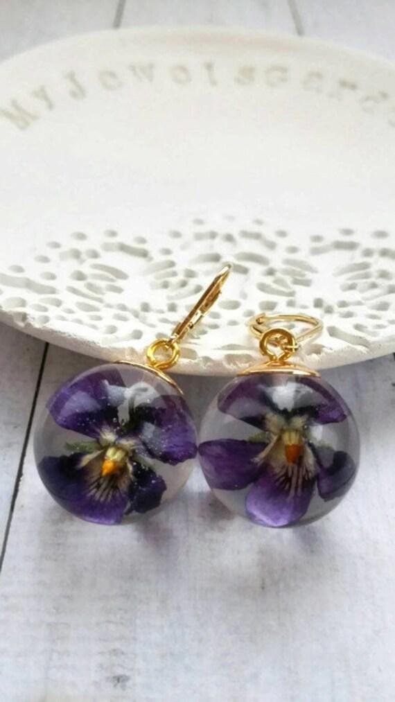 Ultra violet earrings gold filled 14k resin flower dangles resin sphere Purple violet jewelry terrarium mothers gift for her Myjewelsgarden