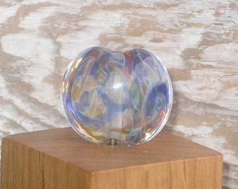 Handmade Glass Lampwork Lentil Focal Bead - Variegated Rainbow Aura