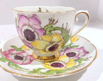 Stanley Tea Cup and Saucer, Anemone Hand Painted Cup, Antique Tea Cups, English Bone China Cups, Tea Cups Vintage, Antique Teacups