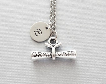 Diploma Necklace, Graduation Jewelry, Graduate Gift, BFF, Friend Gift, Silver Jewelry, Personalized, Monogram, Hand Stamped Letter Initial