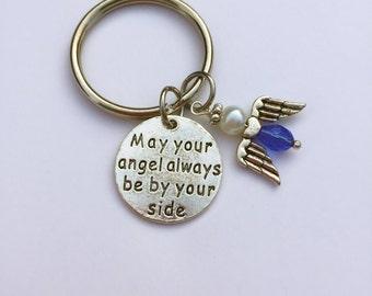 Guardian Angel keyring, Angel keychain, Guardian Angel keychain, Angel gift,