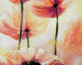 Flower Wall Decor, Flower Wall Art, Living Room, Art Canvas Art Print for Living Room Decor, Narrow Wall Art, Vertical Art, Flower Art