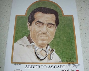 limited edition print of alberto ascari, f1 world champion 1952, 1953