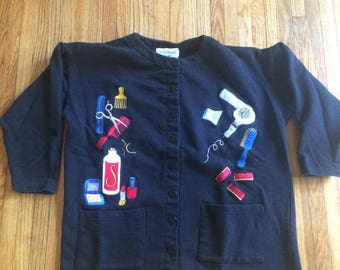 Vintage BellePointe at ease Hairdresser Supplies Button Up Cardigan Sweater