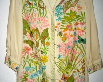 Vintage signed Serbin of Florida screen printed shirt dress flowers and bugs 50s 60s era