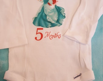 Ariel themed monthly onesies, Mermaid Month By Month Princess themed onesies