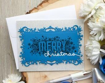 Handmade Christmas Card, Snowflake, Silver Christmas Card, Handmade Cards, Greeting Card, Merry Christmas, Happy Holidays, Holiday Cards