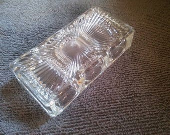 Vintage Glass Paperclip Holder Paperweight - Paperweight - Heavy Clear Glass Paperweight Paperclip Holder - Vintage Office