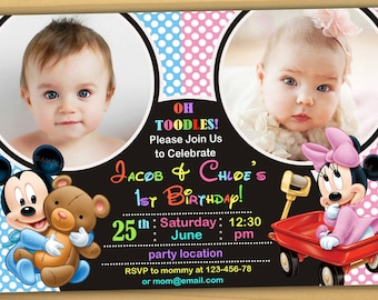 SALE Mickey mouse 1st Birthday Invitation, mickey and minnie mouse 1st birthday invitation, mickey mouse twins invitation, siblings PARTY