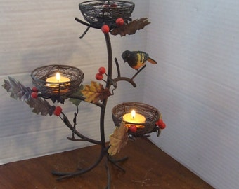 Candle Holder, Tealight Tree Candle Holder, Birds, Birds Nest, Unique Nest  Candle