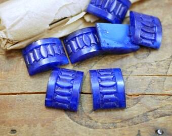 Vintage Rhinestone Art Deco Glass Rhinestones Lapis Blue 18x13mm  (2) J178