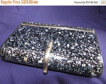 Sale VINTAGE BLACK Pink/Green/Silver Confetti Mother of Pearl Lucite Purse Clutch-BEAUTIFUL B34