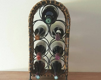 Wine Rack~Rattan and Metal Wine Rack 7 Large Bottles