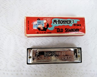 """M. Hohner """"Old Standby"""" Harmonica  in Orig Box Plastic Sounding Board Key G"""