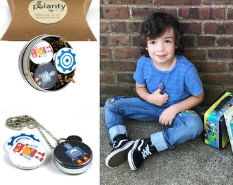 Young Boy Back to School Locket   Robot Locket for Boy or Girl   Holds a Family Photo   Confidence Builder   Gift for Son   Grandson Gift