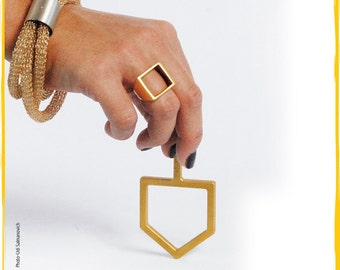Womens Ring, Square Ring, Geometric Ring, Open Square Brass Ring, Geometric Jewelry, Women Jewelry, Minimalist Ring, Gold ring