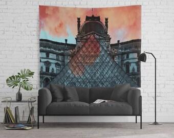 Geometric Louvre on Fire Wall Backdrop - Modern Art - Sherbert Orange - Denim Blue - 68x80 -  Photo Backdrop - Party Backdrop - Dorm Walls