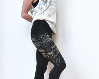 Black Yoga Leggings, Henna Eagle Wing Print, High Waisted Leggings, Henna Design, Bamboo Yoga Pants