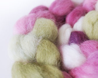 Superfine Alpaca Roving . Hand Dyed . Hand Painted . 100% Combed Alpaca Roving  . OOAK . Spinning Supply . 4oz . Cream . Pink . Green
