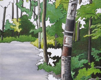 Woodland Painting Print, Birch Trees Art, Forest Artwork Print, Landscape Wall Art, Trees Painting Print, Nature Art Print, 8x10 Art Print
