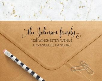 Custom Address Stamp - Flowing Pen Family Self Inking Return Address Stamp