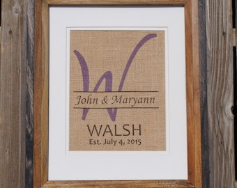 Personalized for Friends Gift - Purple Last Name Initial - Purple Housewarming Gift - Purple Prints on Burlap - Wall Decor for Kitchen