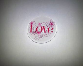 Love, round glass cabochon 20mm, pink and white
