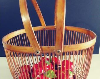 Handled Basket Wicker Basket Vintage home storage Shelf Decorations Fruit Basket Unique Gift Ideas Vintage Handled Friut Basket