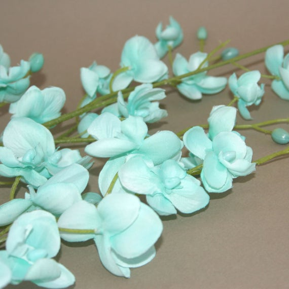 Mint or light blue mini phalaenopsis orchid branch silk flowers mint or light blue mini phalaenopsis orchid branch silk flowers artificial flowers pre order from silkinspirations on etsy studio mightylinksfo