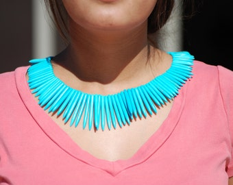 One Strand Graduated Turquoise color dyed Magnesite, Long Stick, Spike Beads, 16 inch Strand, Stone Spike 45 x 5mm, C4326